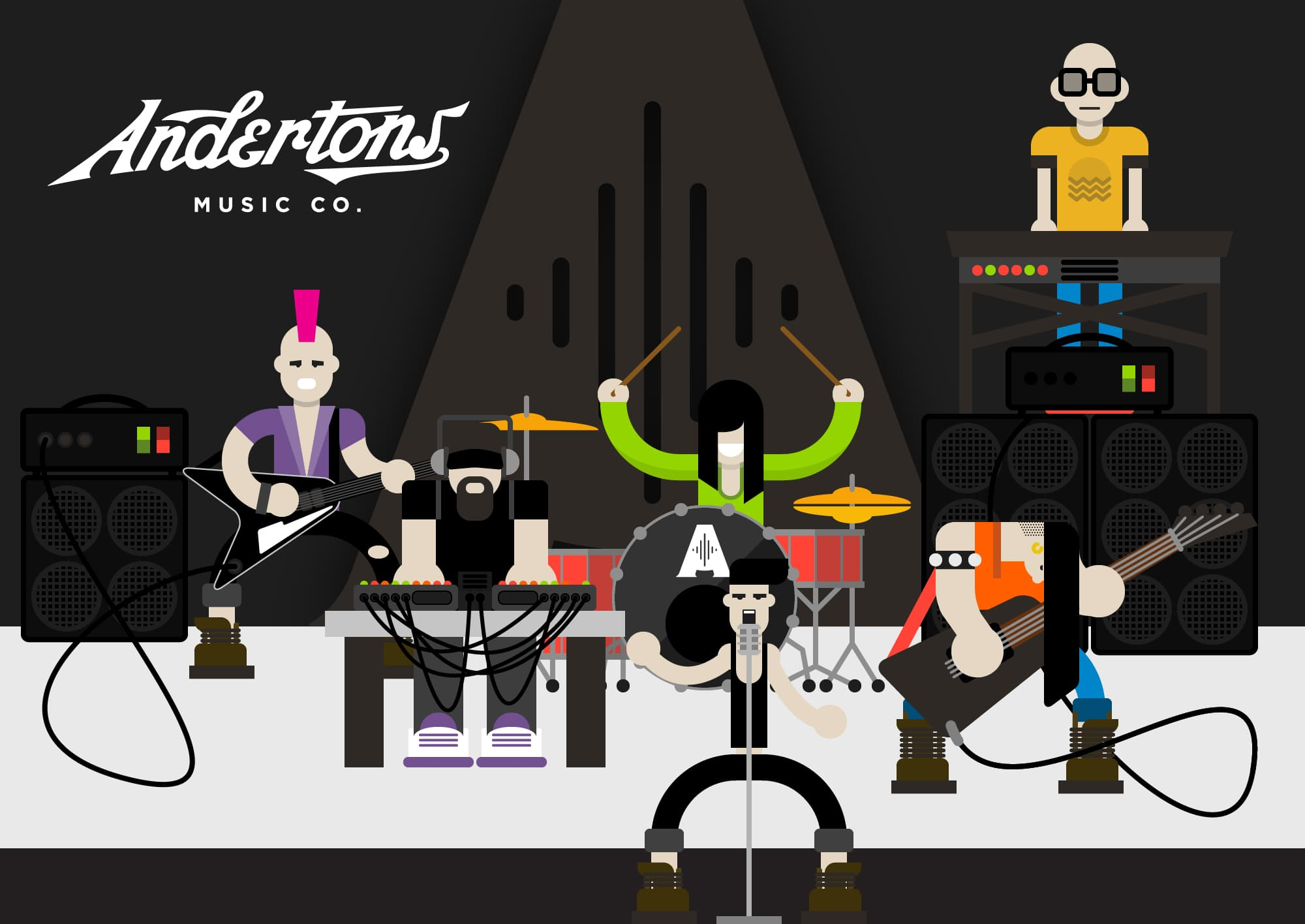Andertons Music Co: Infographics & Illustrations - Rock Band!!