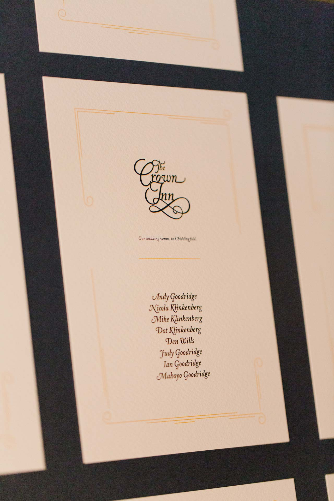 Andy & Nicola Wedding Stationery - Wedding table plan