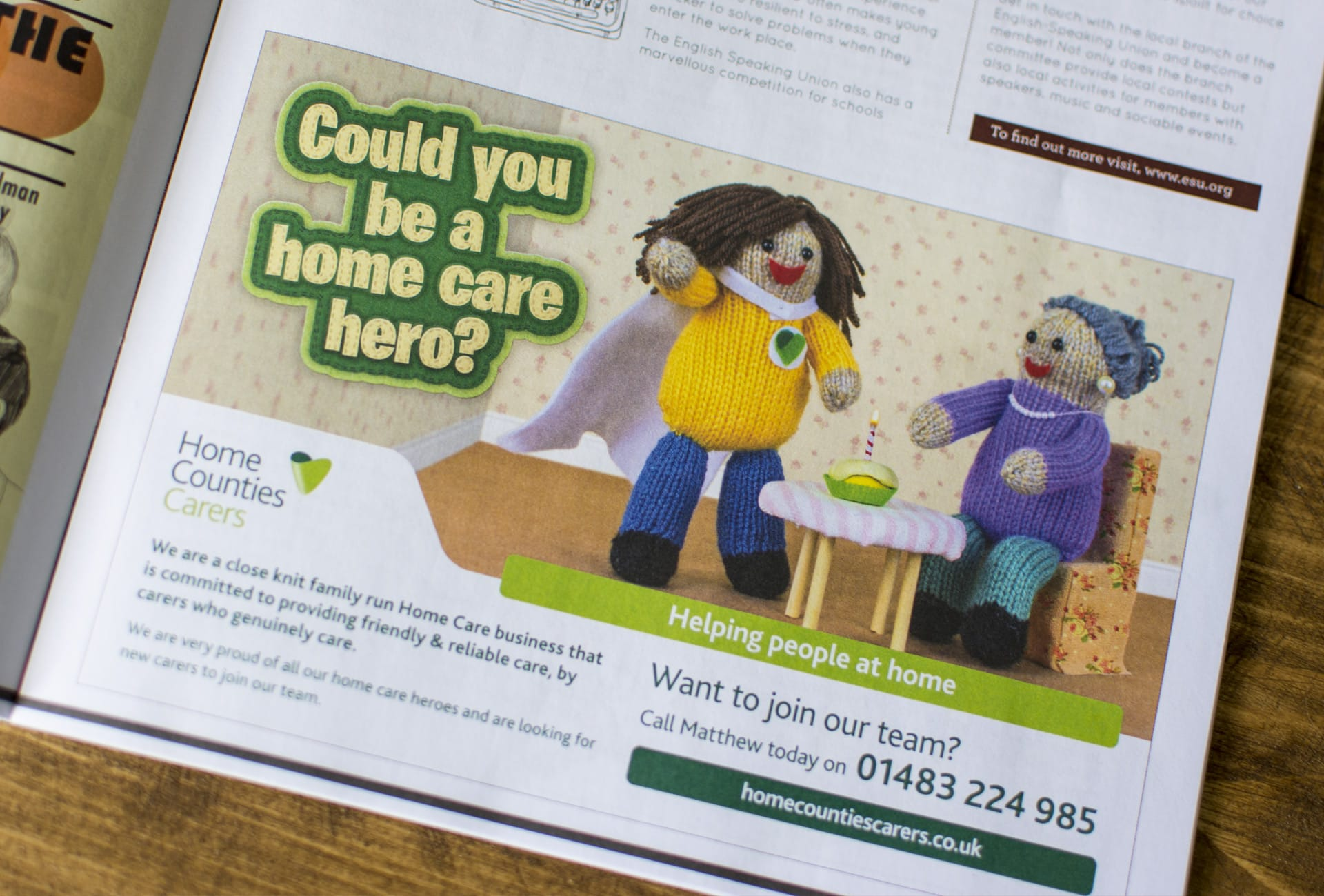 Home Counties Carers: Advertising - Could you be a home care hero?