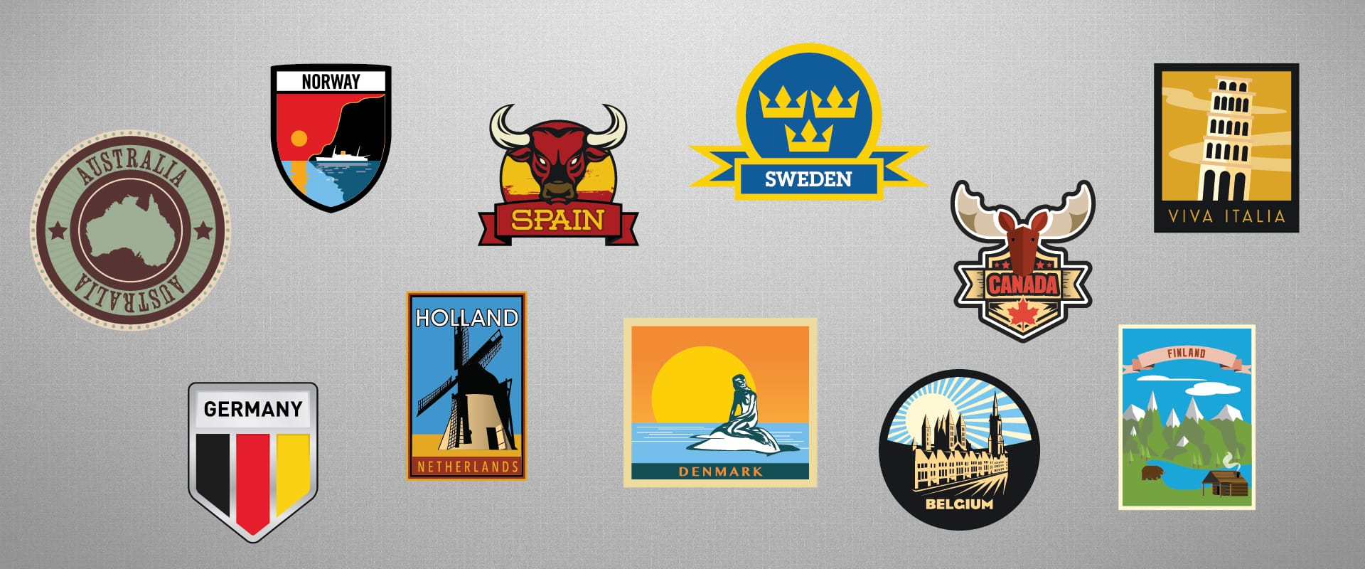 Illustration: People & Places - World Stickers