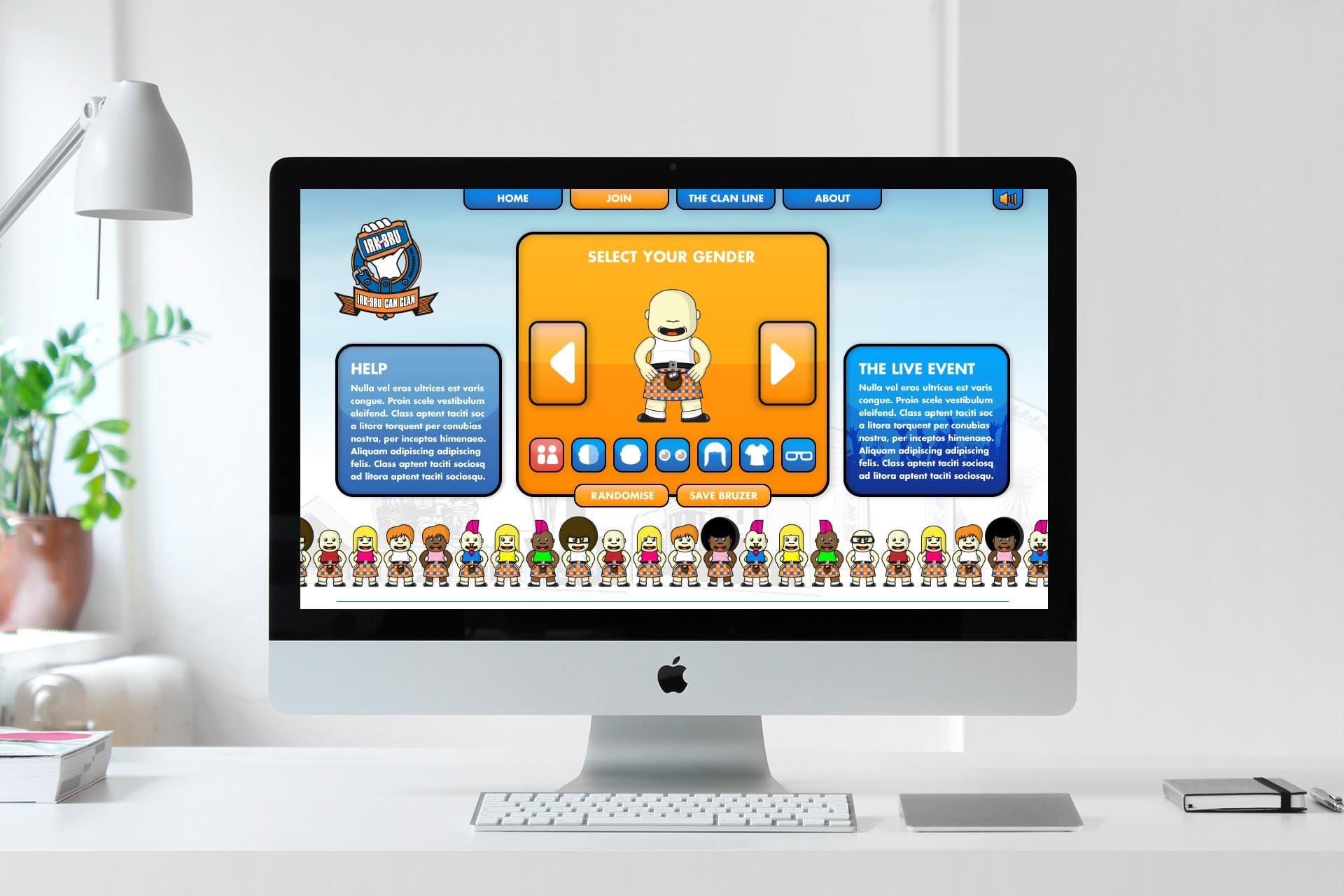 Irn-Bru Can Clan: Branding & Website - Website and character illustration